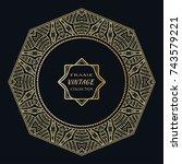 golden frame template with... | Shutterstock .eps vector #743579221