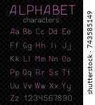 alphabet font characters simple ... | Shutterstock .eps vector #743585149
