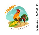 farm emblem with rooster and... | Shutterstock .eps vector #743587945