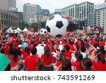 world cup street cheering  ... | Shutterstock . vector #743591269