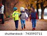 three school friends  kids... | Shutterstock . vector #743593711