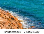high cliff above the sea ... | Shutterstock . vector #743596639