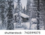 a cozy wooden cabin cottage... | Shutterstock . vector #743599075