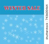 winter sale poster with falling ... | Shutterstock .eps vector #743600464