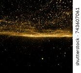 golden sky. abstract stardust... | Shutterstock . vector #743607061