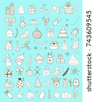 set of christmas doodles   Shutterstock .eps vector #743609545
