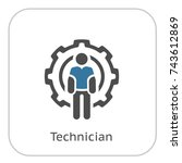 technician icon. man and cog...   Shutterstock .eps vector #743612869