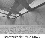dark basement empty room... | Shutterstock . vector #743613679