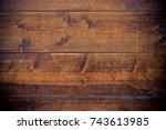 dark weathered wooden... | Shutterstock . vector #743613985