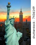 the statue of liberty and new...   Shutterstock . vector #7436149