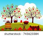 vector fruit press  wooden... | Shutterstock .eps vector #743623384