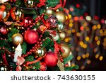 classic green new year tree... | Shutterstock . vector #743630155
