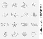 seahells and fish in vector... | Shutterstock .eps vector #743631937