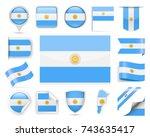 argentina flag set   vector...   Shutterstock .eps vector #743635417