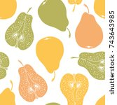 pattern with ripe pears.... | Shutterstock .eps vector #743643985