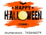 banner happy halloween and... | Shutterstock .eps vector #743646079