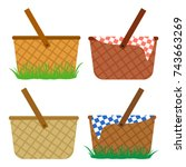 colored set of wicker baskets.... | Shutterstock .eps vector #743663269
