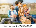 multi ethnic group of friends... | Shutterstock . vector #743667205