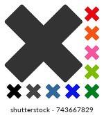 delete x cross icon. flat grey... | Shutterstock .eps vector #743667829