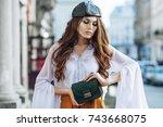 outdoor waist up portrait of... | Shutterstock . vector #743668075