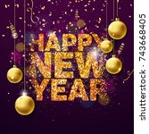 vector happy new year 2018... | Shutterstock .eps vector #743668405