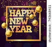 vector happy new year 2018... | Shutterstock .eps vector #743668411
