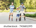 family on roller skates in... | Shutterstock . vector #743681395