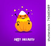 cute candy corn with pumpkin on ... | Shutterstock .eps vector #743683489