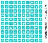 100 media icons set in grunge... | Shutterstock .eps vector #743683675