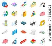 command icons set. isometric... | Shutterstock .eps vector #743683825