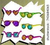 colorful set of the sunglasses... | Shutterstock .eps vector #743684065