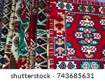 pile of turkish kilims as a... | Shutterstock . vector #743685631