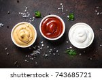 set of tree classic sauce  ... | Shutterstock . vector #743685721