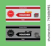 gift voucher template with red... | Shutterstock .eps vector #743686981