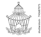 vector back and white birdcage...