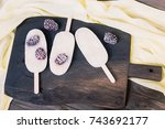 ice cream with blackberries on... | Shutterstock . vector #743692177