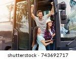three friends of tourists peep... | Shutterstock . vector #743692717