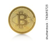 golden bitcoin isolated on a... | Shutterstock . vector #743693725