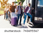 a group of tourists preparing... | Shutterstock . vector #743695567