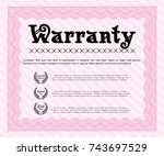 pink retro vintage warranty... | Shutterstock .eps vector #743697529