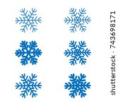 snowflakes signs set. blue... | Shutterstock .eps vector #743698171