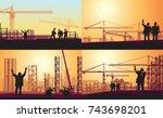 set of images workers work at...   Shutterstock .eps vector #743698201