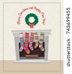 cute holiday card with set of... | Shutterstock .eps vector #743699455