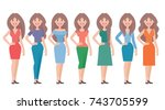 woman in different clothes.... | Shutterstock .eps vector #743705599