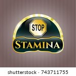 gold shiny emblem with stop... | Shutterstock .eps vector #743711755