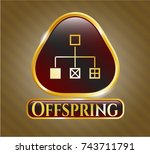 gold badge or emblem with... | Shutterstock .eps vector #743711791