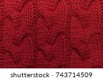 knitted background. knitted red ... | Shutterstock . vector #743714509