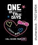 new york love t shirt print... | Shutterstock .eps vector #743718904