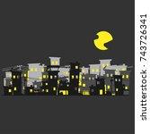 street of poor neighborhood in... | Shutterstock .eps vector #743726341