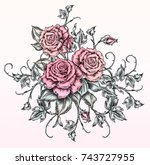 roses drawing in tattoo style | Shutterstock . vector #743727955